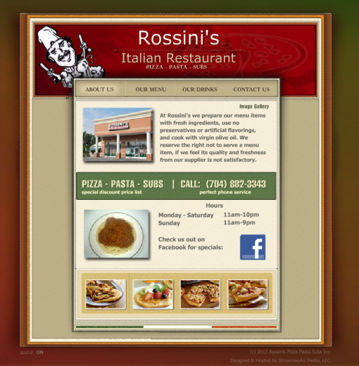 image of the Rossini's Website